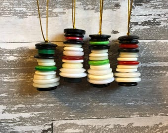 Button Snowman Ornaments, Button Christmas Ornaments, Snowman Ornament, Snowman Ornament Handmade, Christmas Ornament, Christmas Decorations