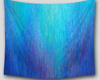 Abstract art Tapestries, Wall Tapestry Hanging, Jewel tone Home decor, Boho, Hippie, Teal aqua turquoise cobalt blue violet, Outdoor Patio