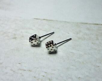Mini Dice Stud Earrings - Silver