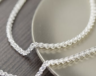 Unisex sterling silver chain necklace Woven Italian finished chain 2mm thick