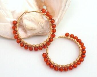 Golden Amber Hoop Earrings, Handmade Amber Beaded Hoops in Gold, Beaded Honey Amber Earring Hoops, Fashion ClassicGift for Her