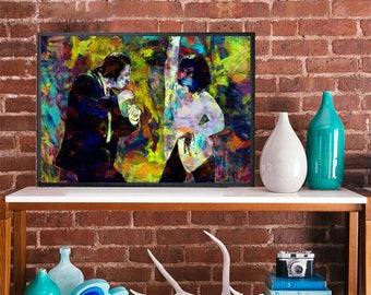 Pulp Fiction Mia Wallace Vince vega Art poster Uma Thurman John Travolta Quentin tarantino movie poster