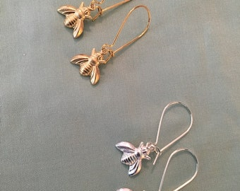 LITTLE Bee Earrings, Silver or Gold, Thin Wires or Loops, Reproduction 18th and 19th century LITTLE bee Silver or Gold earrings