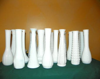 Milk Glass Vases, a Set of 30 Large 8 3/4-10 Inch Table Ready Vintage White Glass Flower Vases, Weddings, Showers, Parties, Events