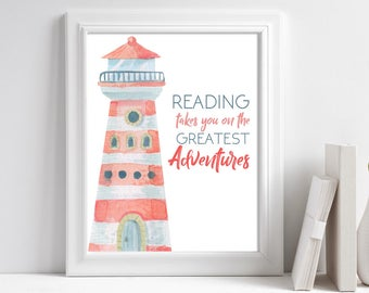 Printable Lighthouse Watercolor Art, Book Lovers Gift, Reading Nook Decor, Book Quotes, Reading Quote