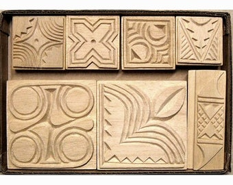Oshiwa Carved Wood Printing Stamp Set, African Nature, Item 32-20