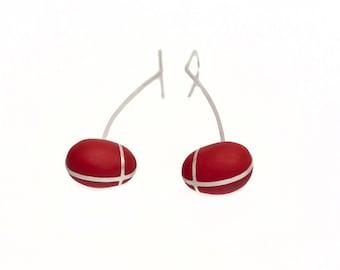 Red Earrings, Sterling Earrrings, Red Silver Earrings, Statement Jewelry, Everyday Earrings, Long Earrings, Gift Ideas for Girls Jewelry