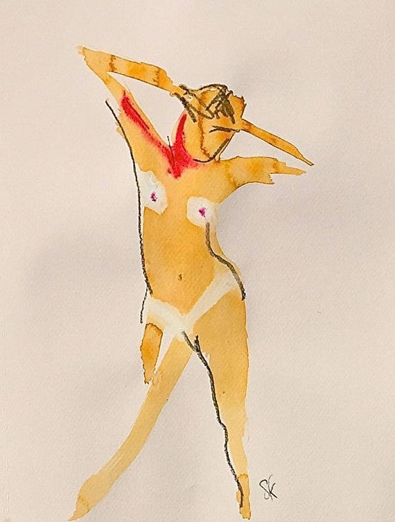 Nude painting of One minute pose 106.6 - Original nude painting by Gretchen Kelly