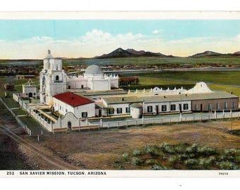 Vintage Postcard San Xavier Mission in Tucson Arizona National Historic Landmark Published by Harry Herz Phoenix Unused Colorful Post Card