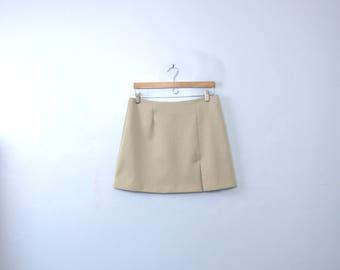 Vintage 90's beige mini skirt, khaki short skirt, size 12 / 13
