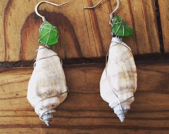 Seashell and sea glass wire wrapped earrings