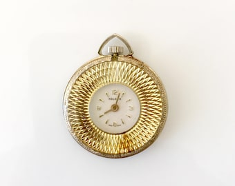 Swiss pocket watch vintage timepiece Lady Nelson gold plated finish mid century 1960's