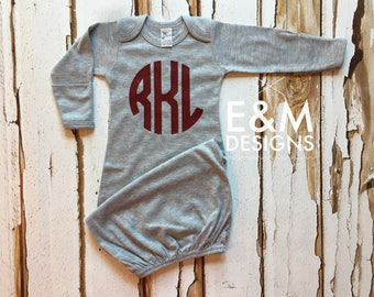 Baby Boy Coming Home Outfit/ Personalized Infant Baby Gown and Hat/ Monogrammed Baby Boy/ Baby Shower Gift/ Newborn Pictures/Gray and Maroon