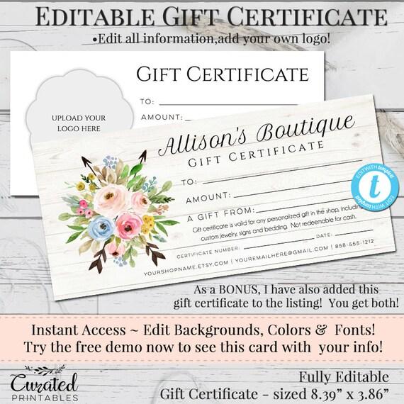 diy gift certificate