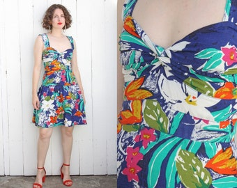 Vintage 80s Dress | 80s Navy Blue Tropical Floral Print Sundress | Medium M