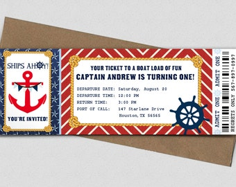 Nautical Birthday Party Boarding Pass Invitation - Printable