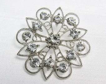 """Silver Sparkle: Large 1-5/8"""" (41mm) Filigree and Rhinestone Button"""
