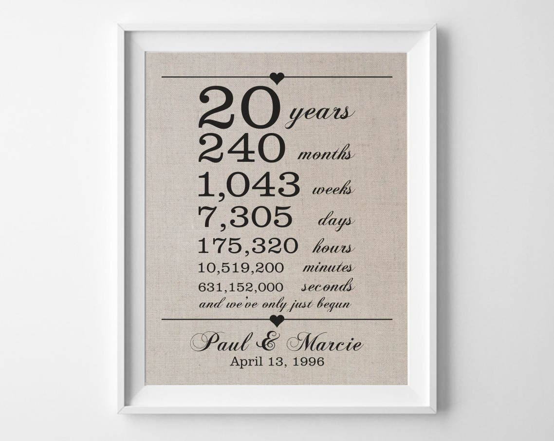 20th Wedding Anniversary Gift For Wife: 20 Years Together 20th Anniversary Gift For Husband Wife