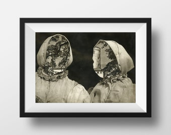 Fine Art Print - Peasants From Omsene - From an original photo collage, surreal dark art.