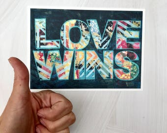 Love Wins 5x7 Handlettered Mixed Media Art Print Gifts For Him Gifts for Her Gifts for Couples