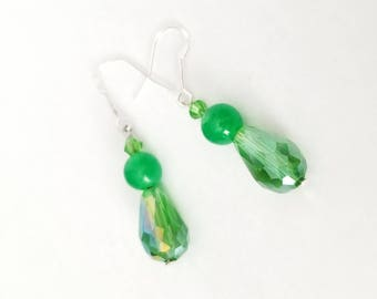 Green Earrings, Crystal and Translucent Chalcedony with Sterling Silver Hooks