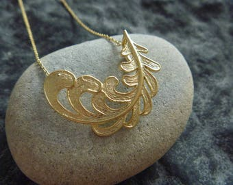 Necklace Angel and paradise: Golden Feather