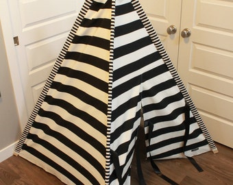 Toddler Teepee - Play Tent - Black & White Modern Stripe