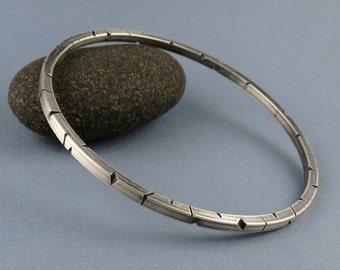 Sterling Silver Architectural Square Wire Bangle Bracelet
