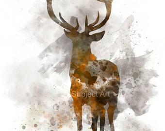 Stag Deer ART PRINT Illustration, Animal, Wildlife, Wall Art, Home Decor