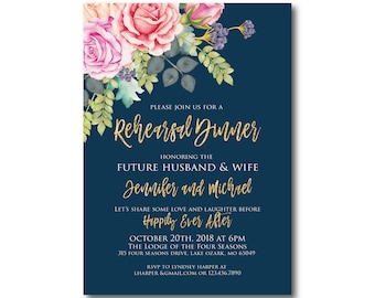 Floral Rehearsal Dinner Invitation Watercolor Floral Rehearsal Dinner Flowers Invitation Gold Glitter Watercolor Invitation #CL322