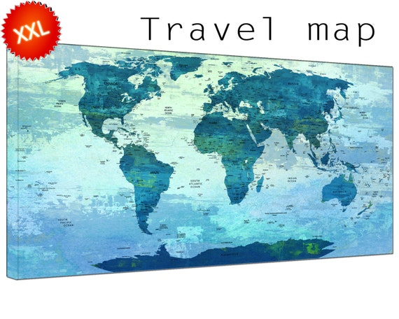 Travel world maps canvasconquest push pin travel world map canvas art print large push pin travel world map with countries gumiabroncs Choice Image