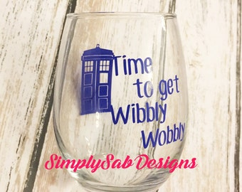 Dr Who Inspired Tardis Wibbly Wobbly Wine Glass Gift