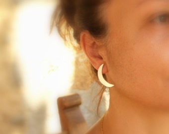 Statement Jewelry - Celestial Jewelry - Crescent Moon Earrings  Sterling Silver Moon Earrings - Handmade Metalwork Jewelry