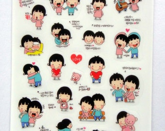 Cute Couple Plastic Stickers From Korea - Boy, Girl, Kiss, Happy, Laugh, Singing, Party Balloons, Dance, Sick, Love Heart, Cry, Photo, Bike