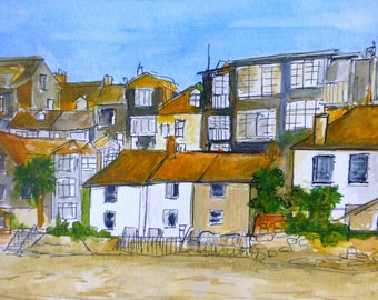St Ives houses painting