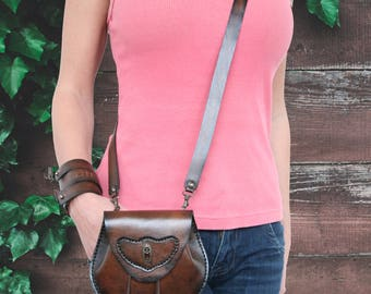 Leather mini bag crossbody  Leather fanny pack purse Small leather crossboby bag for women Leather belt purse Leather belt bag Western bag