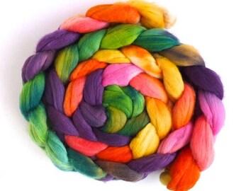 Rambouillet Wool Roving - Hand Painted Spinning Fiber, Pinata