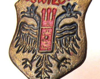 JUDAICA 1950's Town of Auschwitz Oświęcim Site of Concentration Camp Heraldic Badge lapel pin