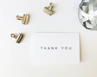 Thank You Cards, Minimalist Thank You Cards, Printed Cards, Thank You Notes, Wedding Thank You, Simple Thank You Card, PHYSICAL PRINT