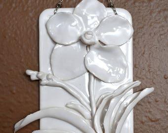 Porcelain Vanda Orchid Flower Wall Hanging (ceramic art  pottery white decor wallhanging 3D, bathroom, living room, bedroom, powder room)