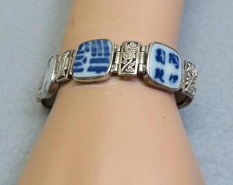 Sterling and Oriental Pottery Link Bracelet, 7.25 Inch Bracelet