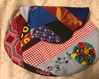 Vibrant Clutch- Patchwork fabric/ Handmade embroidery