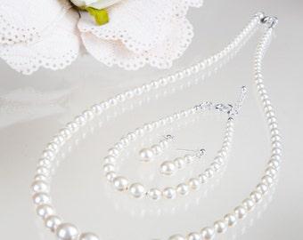 pearl necklace set, complete set with pearl drop earrings, 925 silver, wedding bracelet, bridal wedding set, mother  bride,
