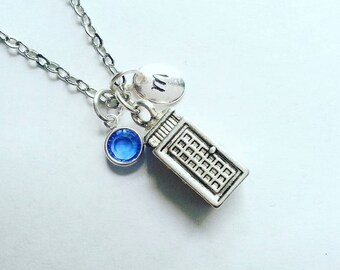Personalized Police Box Necklace,  Hand Stamped Initial, Swarovski Birtstone Crystal, Doctor Who Inspired, Antique Silver Tardis Necklace