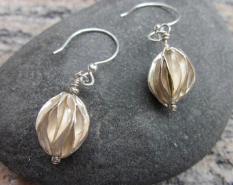 Thai Hill Tribe Fluted Silver Earrings