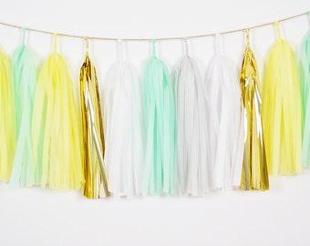Mint Yellow Tassel Garland, Yellow Garland, Mint Tassel Garland, Yellow Baby Shower, Yellow Mint Nursery, Mint First Birthday, Mint Backdrop