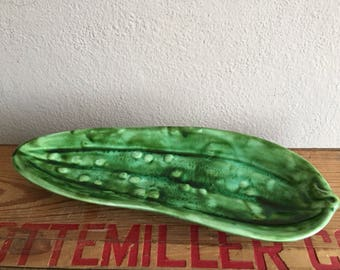Pickle Tray Green Serving Dish Relish Plate Vintage Ceramic Plate