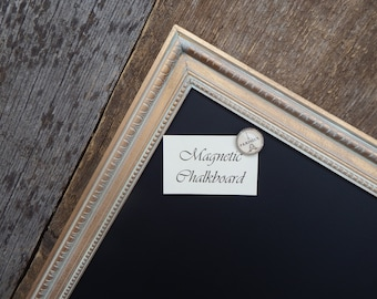 SET Magnetic Chalkboard Distressed Gold Vintage Style Frame with White Wax - Medium Magnetic Board - Magnetic Board Set - Magnet Set