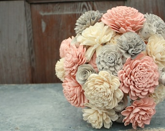 Sola flower bouquet, brides wedding bouquet, blush pink and gray wedding flowers, eco flowers, alternative keepsake bouquet, blush pink