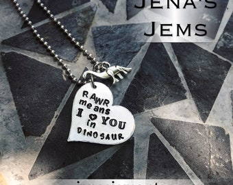 Hand Stamped Rawr Means I Love You In Dinosaur with Long Neck Charm Necklace